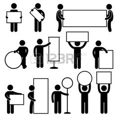 Man Carrying Holding Empty Blank Signboard Banner Placard Business Marketing Icon Sign Symbol Pictogram photo