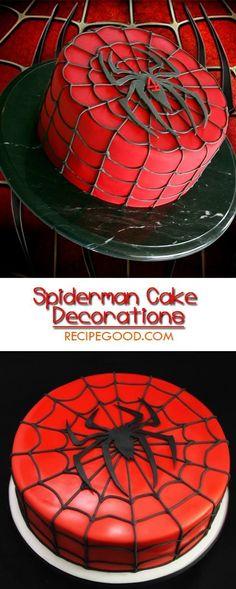 How to Make Spiderman Cake Decorations - Video - geburtstagskuchen Novelty Birthday Cakes, Birthday Cupcakes, Spiderman Torte, Spiderman Birthday Cake, Spiderman Cookies, Superhero Cake, Birthday Cake Decorating, Diy Cake, Cakes For Boys