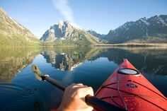 Explore the lakes and rivers near Yellowstone and Grand Teton parks on a white water river rafting trip, guided kayak tour, boat tour or go swimming. Rafting, Kayak Camping, Canoe And Kayak, Camping Cabins, Kayak Fishing, Kayaks, Grand Teton National Park, National Parks, Sport Nature