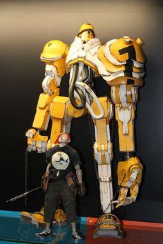 "Popbot TK Hunter standing next to 1/6th 12"" tall Kenshiro Tomorrow King"