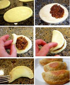 EMPENADAS. - handmade or store bought dough. FILLING. -- 2 tablespoons olive oil 1 cup onion, finely chopped 1 teaspoon minced garlic 1/2 pound lean ground beef 1/2 teaspoon salt 1/4 teaspoon black pepper 1/2 teaspoon ground cumin 1/2 teaspoon smoked paprika – Egg wash: 1 large egg 1 tablespoon water