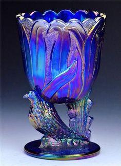 "*FENTON ART GLASS ~ RARE Antique Art Deco Fenton Cobalt Blue Carnival Glass 6"" Blue Bird Vase Mint --ebay.com--"