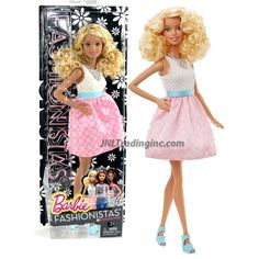 "Barbie Fashionistas 12"" Doll - BARBIE (DGY57) in Baby Doll Dress with White Patterned Top, Pink Skirt and Blue Ribbon Sash Plus Necklace"