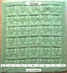Neulottu sydänpeitto vauvalle - PunomoPunomo Baby Knitting Patterns, Sheet Music, Quilt Blocks, Music Sheets