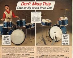 1960s catalog ad for kid drum sets