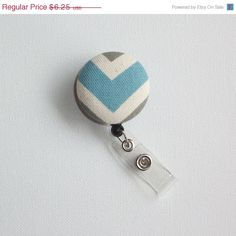Cyber Monday Sale  Retractable ID Badge Holder Reel   by Laa766 chic / cute / preppy / fabric / covered button / clip-on / retractable cord / patterned / co-worker or school gifts