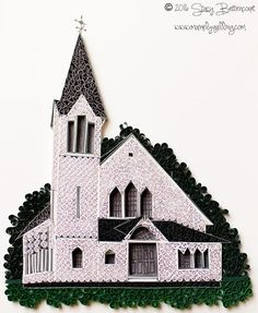 A quick test project in between commissions. This is the Bunker Hill Church in Jefferson, Maine. It has a great overlook of Damariscotta Lake and is a very popular site-seeing stop. Luckily, it's right up the road from where I live. #quilled #quilling #maineart #mainemade #maineigers #mainelife #maine #paperquilling #paperquilled #paperquilledart #jefferson #bunkerhillchurch #church