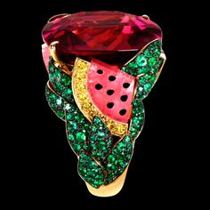 "Yellow Gold Rubellite Ring - Piaget Luxury Jewellery Limelight ""Watermelon Dream"" cocktail inspiration ring in 18K yellow gold, set with a cushion-cut rubellite (approx. 37.26 ct), 280 brilliant-cut emeralds (approx. 4.13 ct), 4 rubellite balls (approx. 9.05 ct), 34 brilliant-cut yellow diamonds (approx. 0.75 ct) and 45 brilliant-cut diamonds (approx 0.16 ct)."