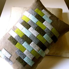 felt pillow made from recycled wool by plytextiles on Etsy Felt Cushion, Felt Pillow, Recycled Sweaters, Wool Sweaters, Sewing Crafts, Sewing Projects, Diy Upcycling, Upcycle, Wool Quilts