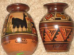 Peruvian Celebration Handmade Vases (2) Cusco Copari Pero