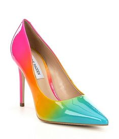 Nothing says on-trend like Steve Madden shoes! Shop the latest styles of wedges, heels, sneakers, and more from the ever-iconic brand at Dillard's. Rainbow Heels, Rainbow Outfit, Rainbow Wedding Dress, Rainbow Dresses, Prom Shoes, Buy Shoes, Clearance Shoes, Stiletto Pumps, Women's Pumps