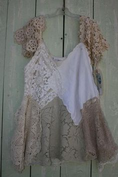 swing top #upcycled from #vintage #linens #crochet and #lace