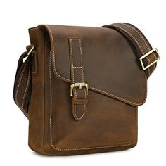 Kattee - Bolso al hombro para hombre marrón Dark Coffee small