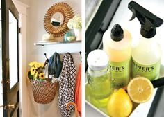18 Ideas for a Bright and Happy Kitchen - mud room, cleaning supply dish