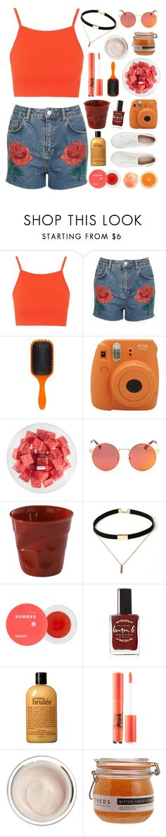 """""""Summer style"""" by crazydirectionergirl ❤ liked on Polyvore featuring Topshop, Denman, Fujifilm, FRUIT, Revol, Korres, Lauren B. Beauty, philosophy, Too Faced Cosmetics and Dr. Sebagh"""