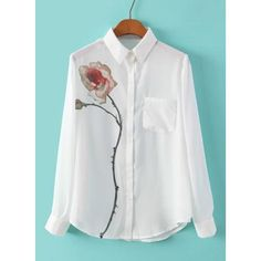 Refreshing Flower Pattern Polo Collar Chiffon Long Sleeve Blouse For Women #shoes, #jewelry, #women, #men, #hats