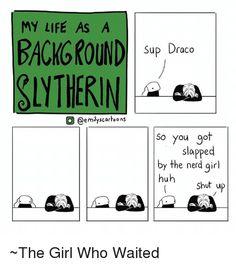 Bitch slapped by the nerd girl omfg! Harry Potter Comics, Harry Potter Houses, Harry Potter Love, Harry Potter Universal, Harry Potter Fandom, Harry Potter World, Harry Potter Memes, Slytherin Pride, Hogwarts