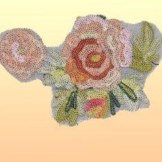 Vintage Antique Rose Applique Chain Stitch Embroidered Flower Trim 3X4.5 inC