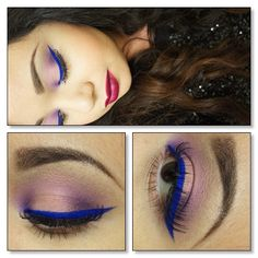 Pink and Purple with Pop of Blue Liner  I turned Mingles loose eyeshadow from @Vanessa Barney into a liner. This color is so vibrant! The purple is Glam Girl & the pink is Love Affair from GDE. - @Shannyn- #webstagram