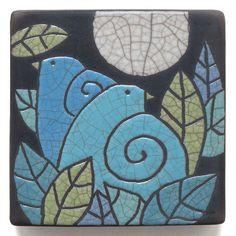 Ceramic Wall Art ,Aqua Turquoise Birds,Ceramic tile,handmade 4x4 inch raku fired art tile