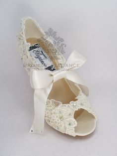 Ivory Pearl & Lace Vintage Peep Toe 1, 2, 3, 4, 5, or 6 Inch Mid Kitten Heel Shoes US Size 5 6 7 8 9 10