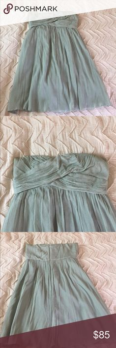 J Crew Dusty Shale Bridesmaid Dress Such a great dress! Only worn once, but not dry cleaned afterwards which you can tell when looking at the inside. Nice quality. Size 8. J. Crew Dresses Wedding