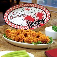 Nebraska Cornhuskers Home-Gating Gameday Oval Ceramic Platter
