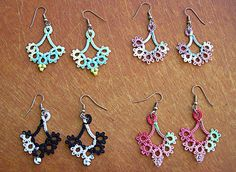 Tatted Floret Earrings, 4 sets in Lizbeth thread colors, tatted by scraplady