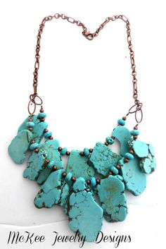 Turquiose howlite slab and beads, Chunky two layer necklace. Copper metal, stone. McKee Jewelry Designs