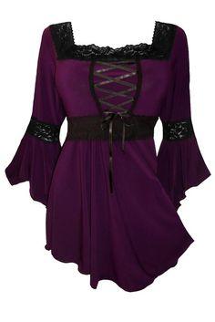 Dare to Wear Women's Victorian Gothic Renaissance Corset Top at Amazon Women's Clothing store: Plus Size Renaissance Shirt