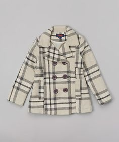 Beige & Black Plaid Coat - Toddler & Girls