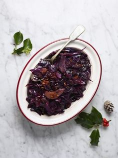 Red cabbage and bacon is a classic, but kick it up a notch with chorizo instead. It's a winner! From Jamie Oliver's Jamie's Quick & Easy Christmas programme. Jamie's Recipes, Side Recipes, Cooking Recipes, Savoury Recipes, Easy Cooking, Dinner Recipes, Xmas Food, Christmas Cooking, Christmas Recipes