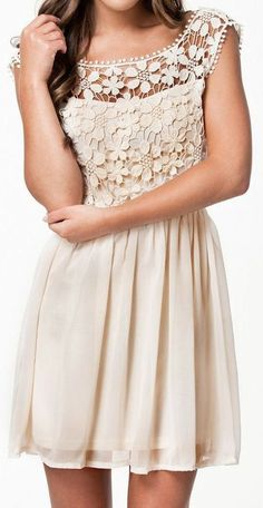 Lace Floral Pleated Dress ✿- This would look great with a pair of boots!