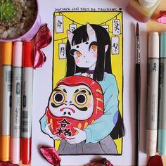 Inktober 2017 day 5 Daruma and Eunbooh by Paulinaapc Character Art, Character Design, Arte Sketchbook, Cute Art Styles, Drawing Challenge, Marker Art, Kawaii Art, Pretty Art, Aesthetic Art