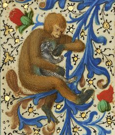 Monkey and cat 'Gillion de Trazegnies', Flanders after 1464. Los Angeles, Getty, Ms. 111, fol. 134v