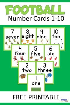 Free printable football number cards for the numbers Three different sizes to choose from. Great for practicing basic math skills. Sports Activities For Kids, Educational Activities, Learning Activities, Fun Printables For Kids, Free Printables, Football Word Search, Printable Numbers, Number Words, Math Practices
