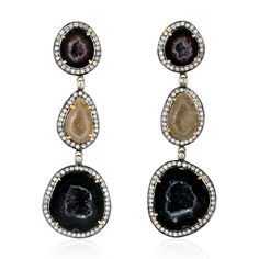 925 Sterling Silver Dangle Earring With Geode Gold Diamond Jewelry - Mettlle