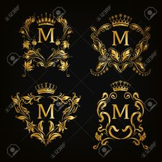 Set of gold monogram for graphic design on black background...