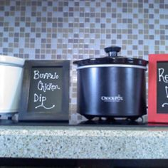 Crockpot labels for parties.  Old picture frame painted your favorite color + use 2 coats of chalkboard paint to cover glass = project complete!