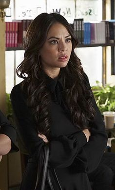 Mona's black long sleeve collared dress on Pretty Little Liars.  Outfit Details: http://wornontv.net/50151/ #PLL