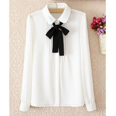 Solid Color Pleated Long Sleeve Slimming Chiffon Women's BlouseBlouses | RoseGal.com