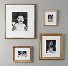 Restoration Hardware Baby & Child's Antiqued Gilt Wood Frames:Our handcrafted gilt frames differ in size, shape and style of molding, but each shares the same resplendent coloration for a luxurious, Old-World look. A Frame Cabin, A Frame House, Luxury Nursery, Restoration Hardware Baby, Big Girl Rooms, Baby Rooms, Nursery Furniture, How To Antique Wood, Antique Brass