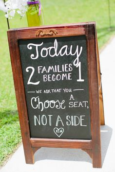 Sweet chalkboard wedding ceremony sign (Photo by Keepsake Memories Photography)