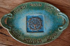 Personalized Wedding Gift Thank You From Bride and Groom, Tree of Life Platter MADE TO ORDER  Handmade by Big Dog Pots Pottery Bigdogpots on Etsy, $82.50
