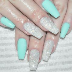 Light blue and silver glitter coffin nails