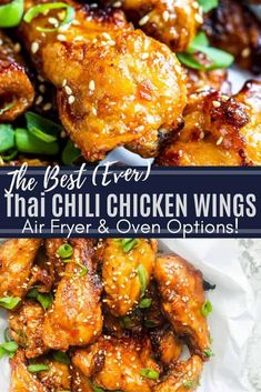The Thai Sweet Chili Chicken Wings make the best easy appetizer or snack for game days and parties! The crispy wings are cooked in the air fryer (Ninja Foodi) for easy prep and clean up in only 30 minutes. The wings are then tossed in homemade sweet chili Sauce Für Chicken Wings, Chicken Wing Sauces, Crispy Chicken Wings, Air Fryer Chicken Wings, Sauce For Wings, Sesame Chicken Wings Recipe, Low Carb Chicken Wings, Asian Chicken Wings, Air Fryer Wings