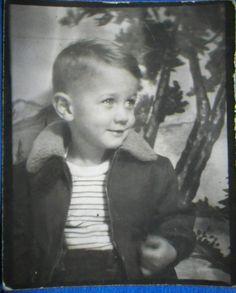 AE43 Original Vintage Photobooth Photo Cute Little Blonde Boy Bomber Jacket