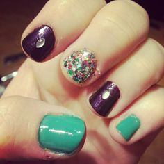 My 2nd favorite nails♡ mint purple and Glitter