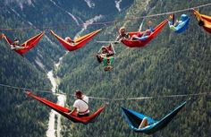 At the International Highline Meeting in the Italian Alps, the event featured tightrope walkers moving from mountain to mountain and sleeping in hammocks suspended thousands of feet in the air.