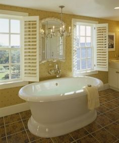 This Chatham home features traditional American Georgian architecture while accommodating the picturesque Cape Cod setting and a contemporary family lifestyle. Yellow Bathrooms, Dream Bathrooms, Beautiful Bathrooms, Luxury Bathrooms, Dream Rooms, Bathroom Spa, Bathroom Interior, Bathroom Ideas, Bathroom Windows